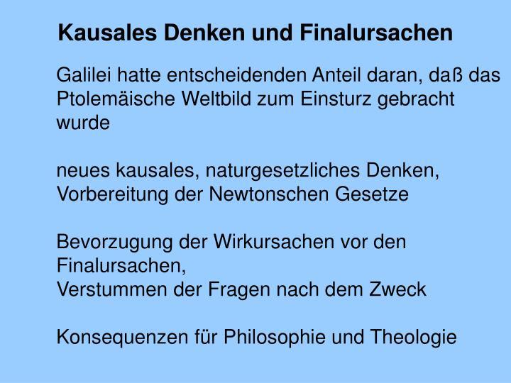 Kausales Denken und Finalursachen
