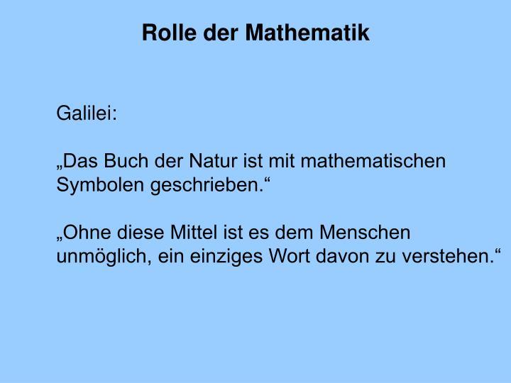 Rolle der Mathematik