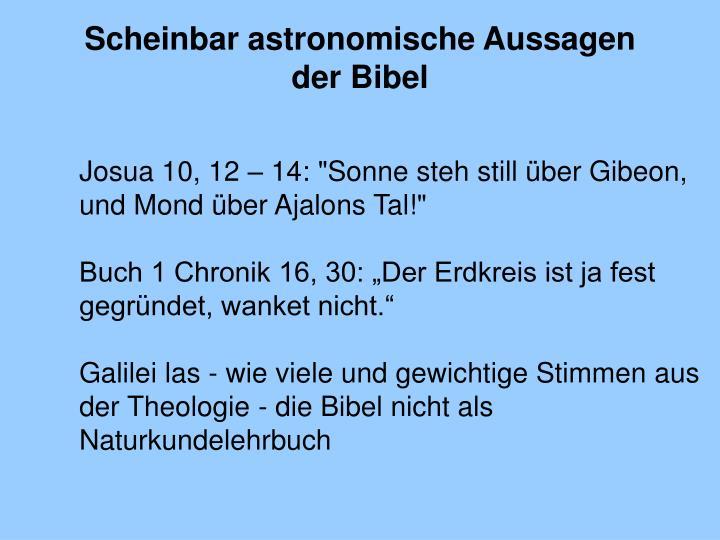 Scheinbar astronomische Aussagen der Bibel