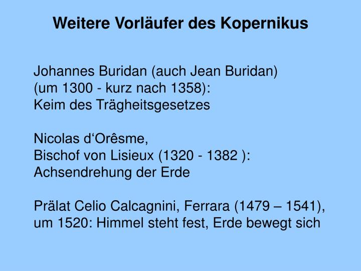 Weitere Vorläufer des Kopernikus