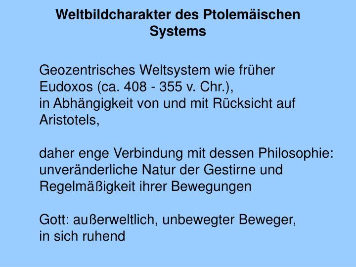 Weltbildcharakter des Ptolemäischen Systems