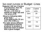 iso cost curves or budget lines