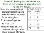 scale in the long run no factors are fixed all are variable so what changes is scale of inputs