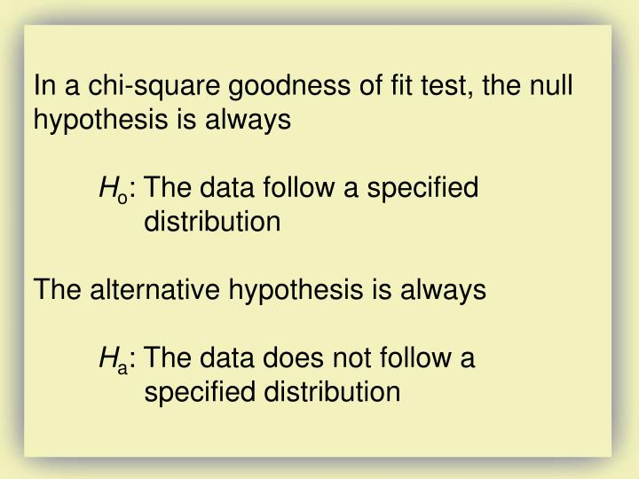 In a chi-square goodness of fit test, the null hypothesis is always