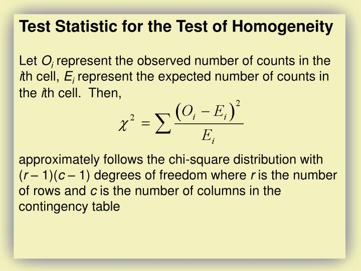 Test Statistic for the Test of Homogeneity