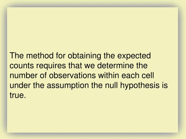 The method for obtaining the expected counts requires that we determine the number of observations within each cell under the assumption the null hypothesis is true.