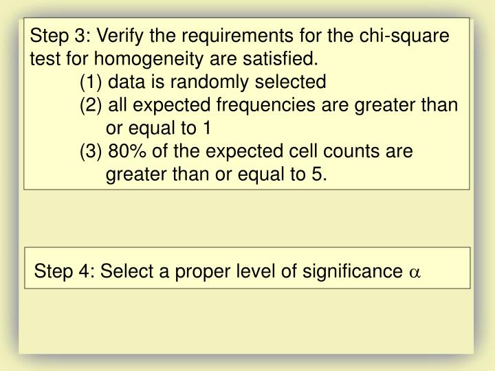 Step 3: Verify the requirements for the chi-square test for homogeneity are satisfied.