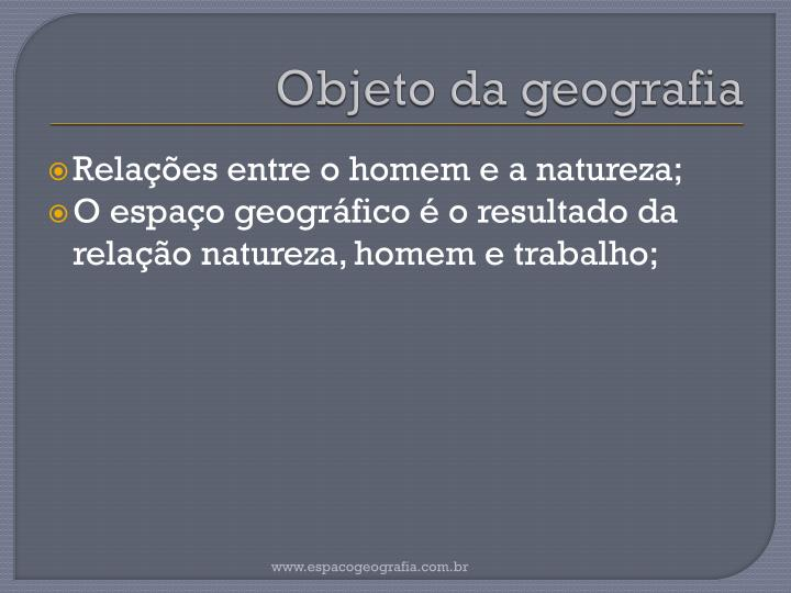 Objeto da geografia