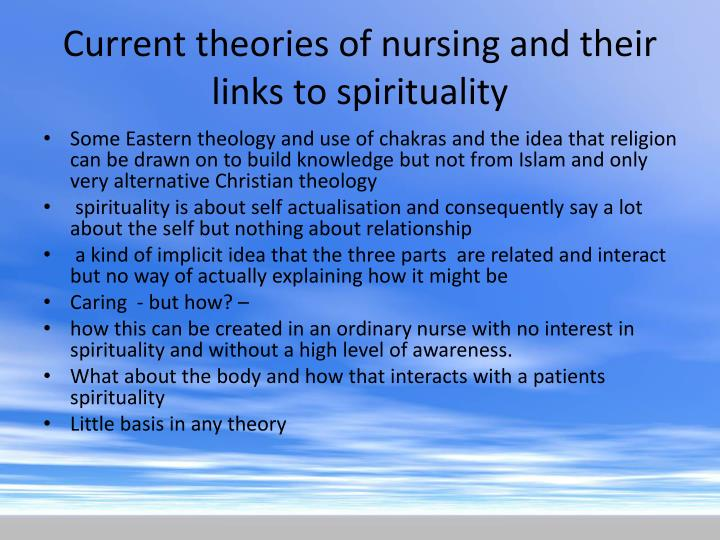 Current theories of nursing and their links to spirituality