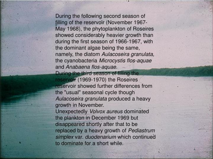 During the following second season of filling of the reservoir (November 1967- May 1968), the phytoplankton of Roseires showed considerably heavier growth than during the first season of 1966-1967, with the dominant algae being the same, namely, the diatom