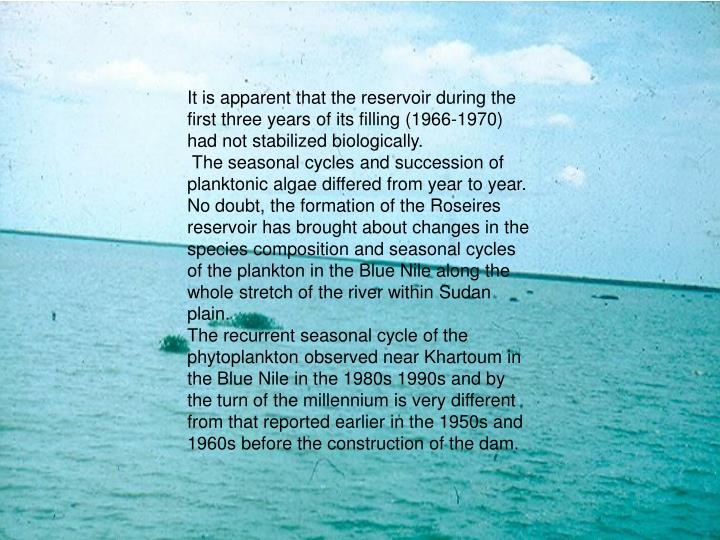 It is apparent that the reservoir during the first three years of its filling (1966-1970) had not stabilized biologically.