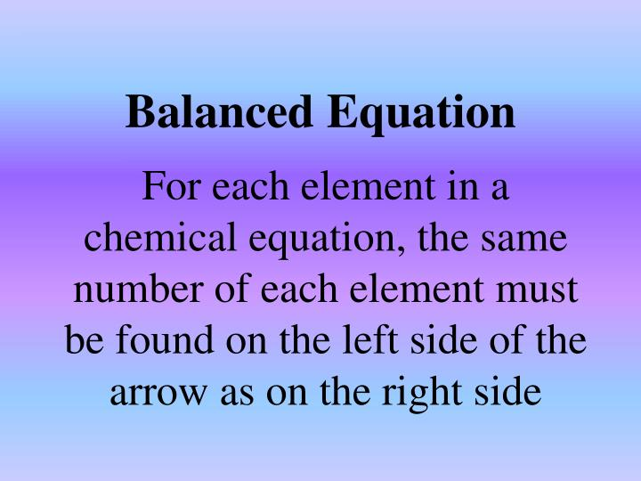 Balanced Equation