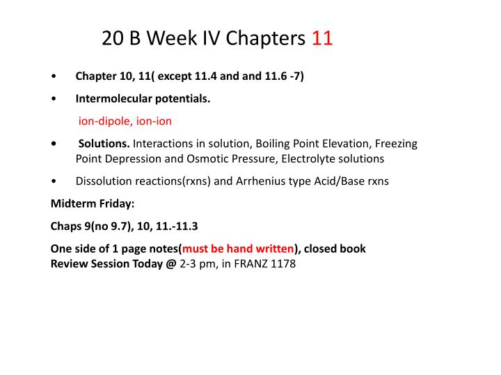 20 b week iv chapters 11