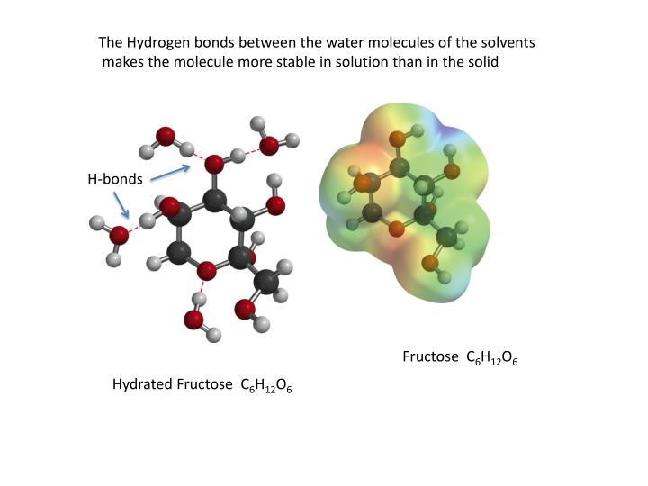 The Hydrogen bonds between the water molecules of the solvents