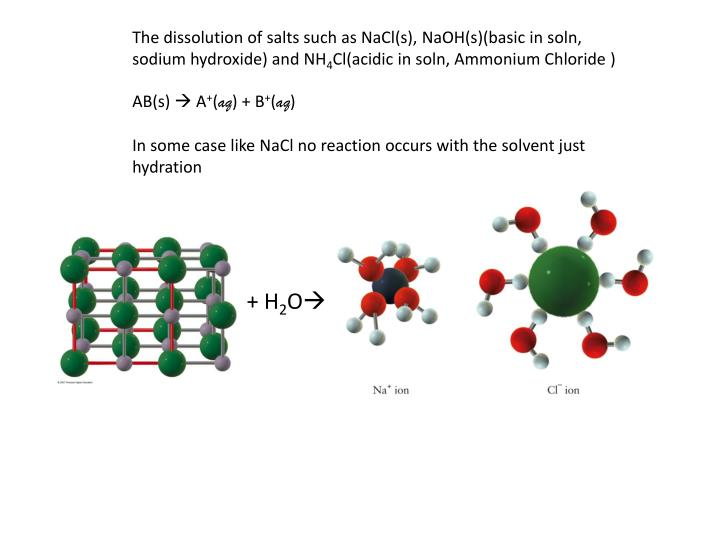 The dissolution of salts such as