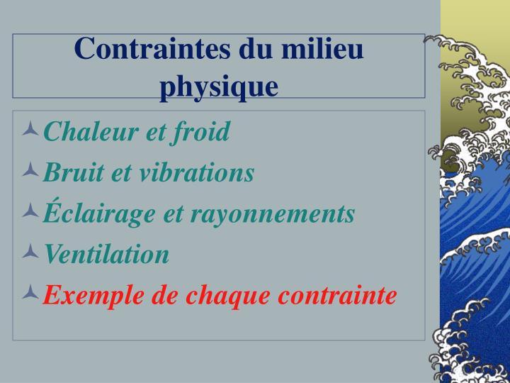 Contraintes du milieu physique