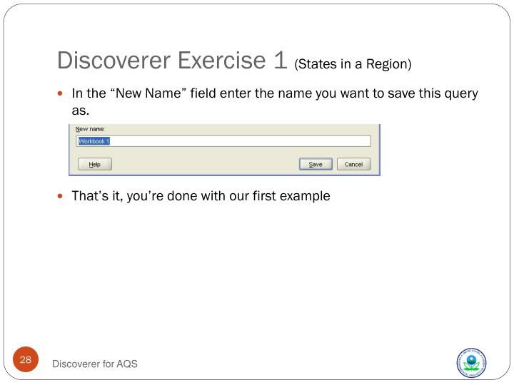 Discoverer Exercise 1