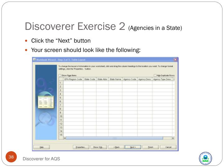 Discoverer Exercise 2