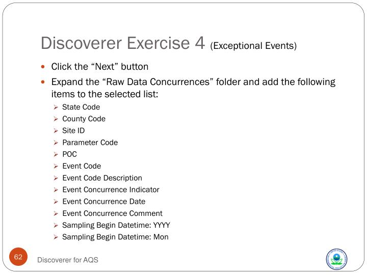 Discoverer Exercise 4