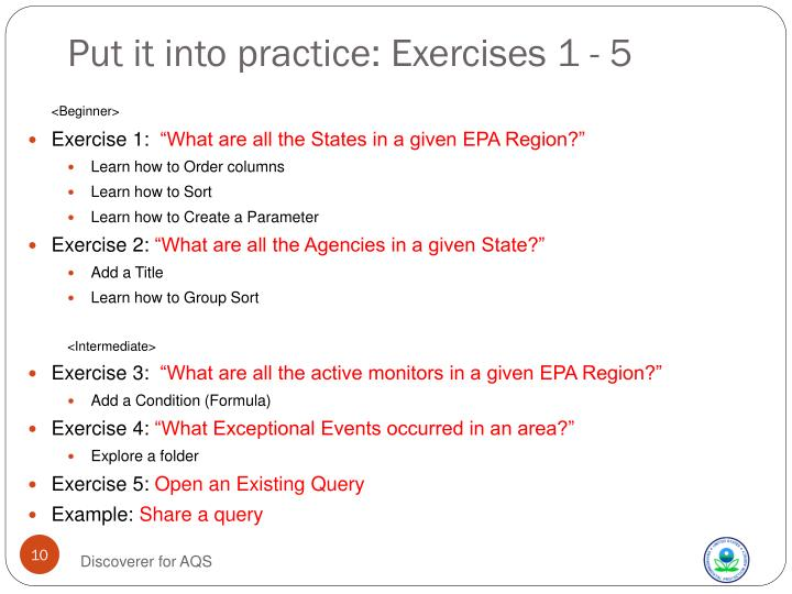 Put it into practice: Exercises 1 - 5