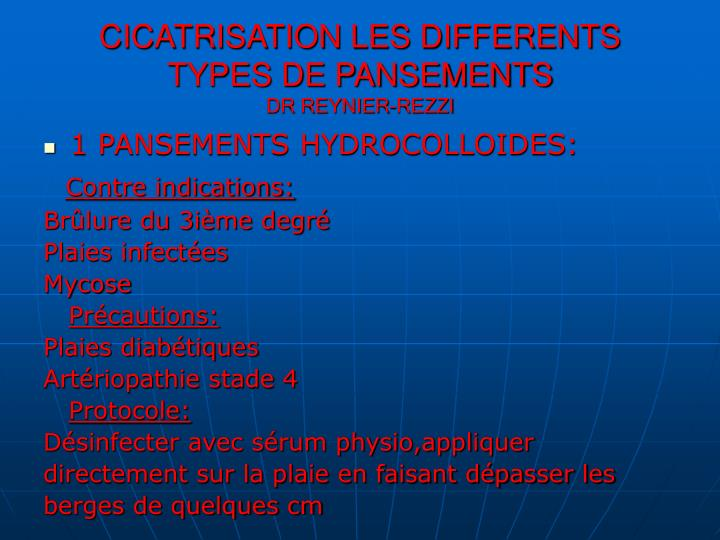 Ppt cicatrisation les differents types de pansements dr - Differents types de miroirs ...