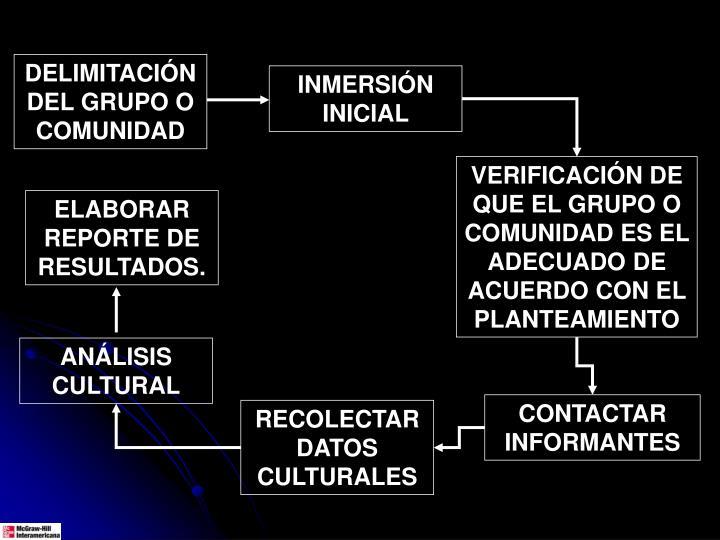 DELIMITACIÓN DEL GRUPO O COMUNIDAD