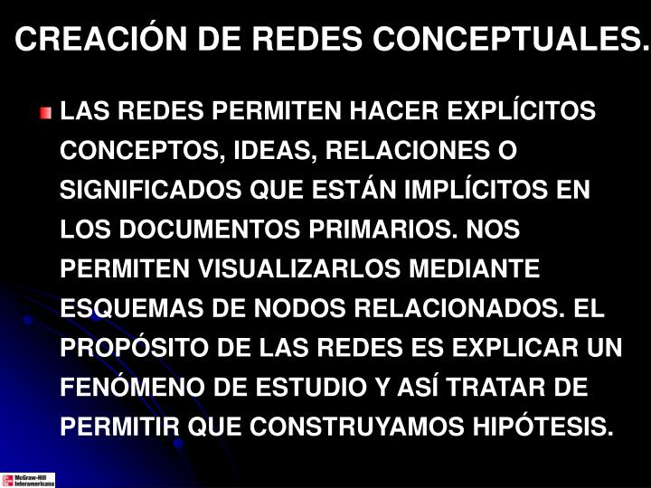 CREACIÓN DE REDES CONCEPTUALES.