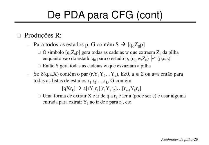 De PDA para CFG (cont)