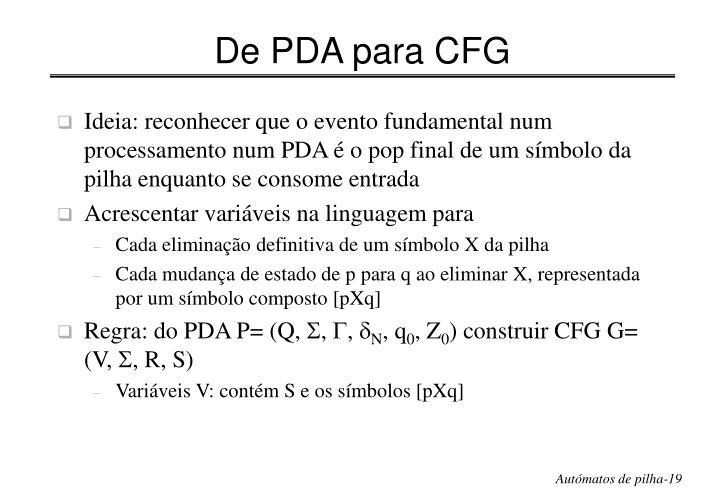 De PDA para CFG