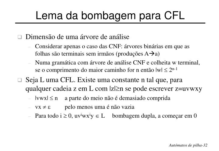 Lema da bombagem para CFL