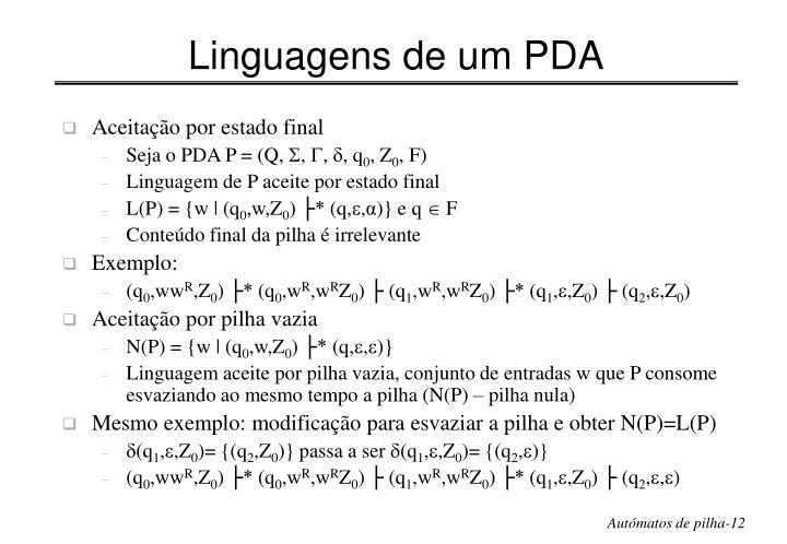 Linguagens de um PDA