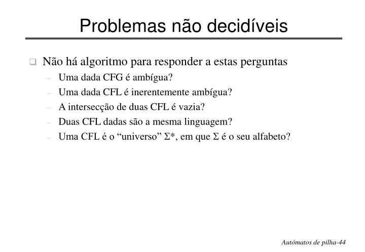 Problemas não decidíveis