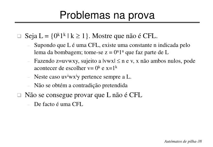 Problemas na prova