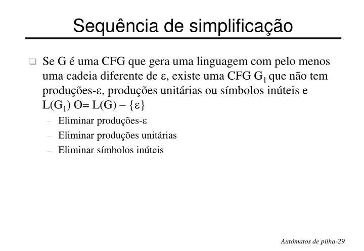 Sequência de simplificação