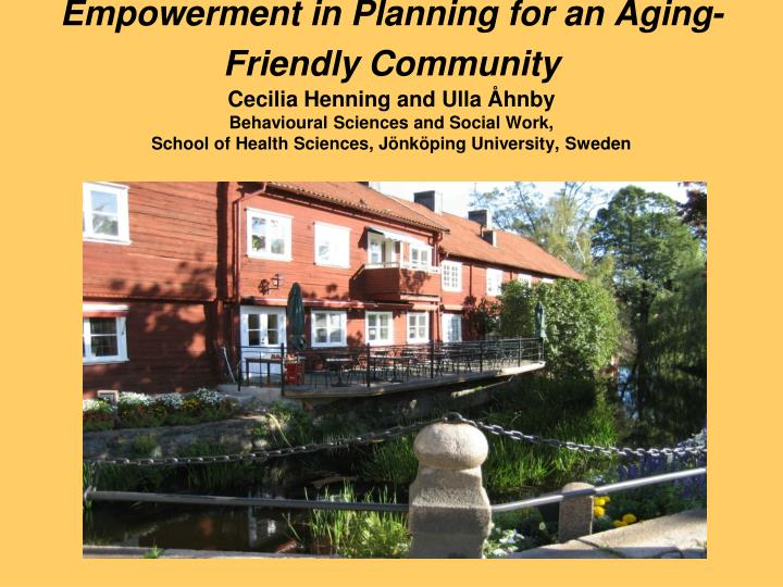 Empowerment in Planning for an Aging-Friendly Community