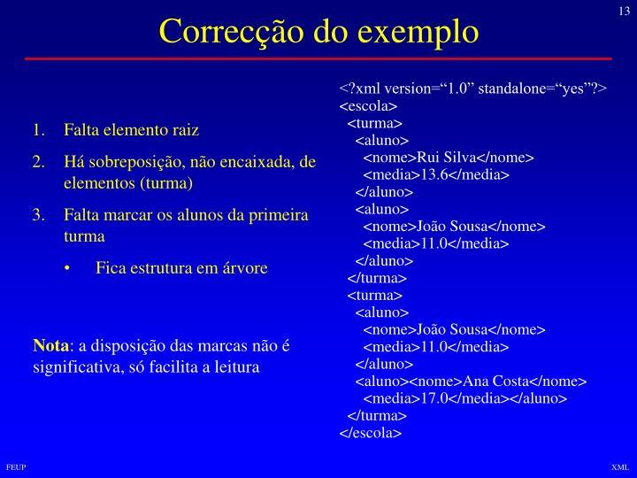 Correcção do exemplo