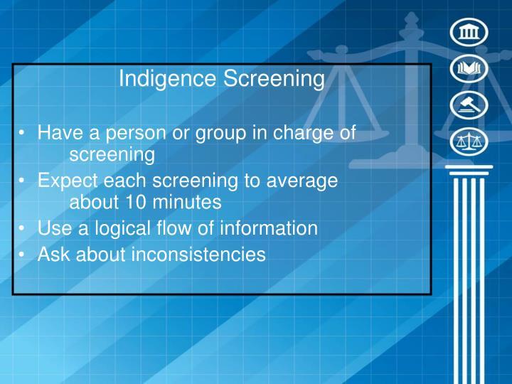 Indigence Screening