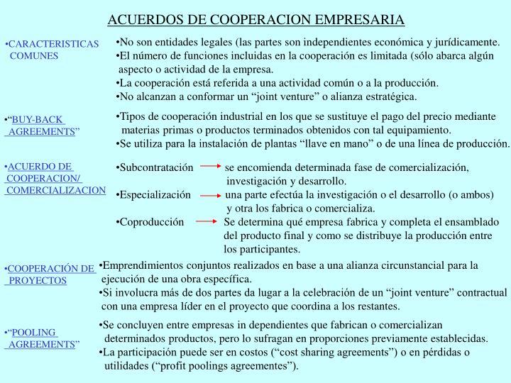 ACUERDOS DE COOPERACION EMPRESARIA