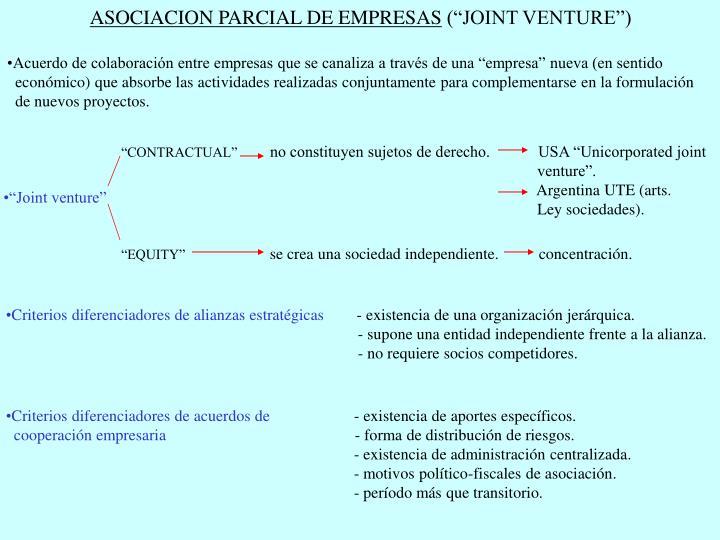 ASOCIACION PARCIAL DE EMPRESAS