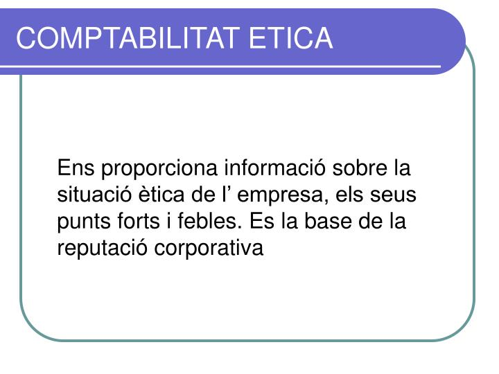 COMPTABILITAT ETICA