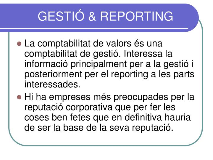 GESTIÓ & REPORTING