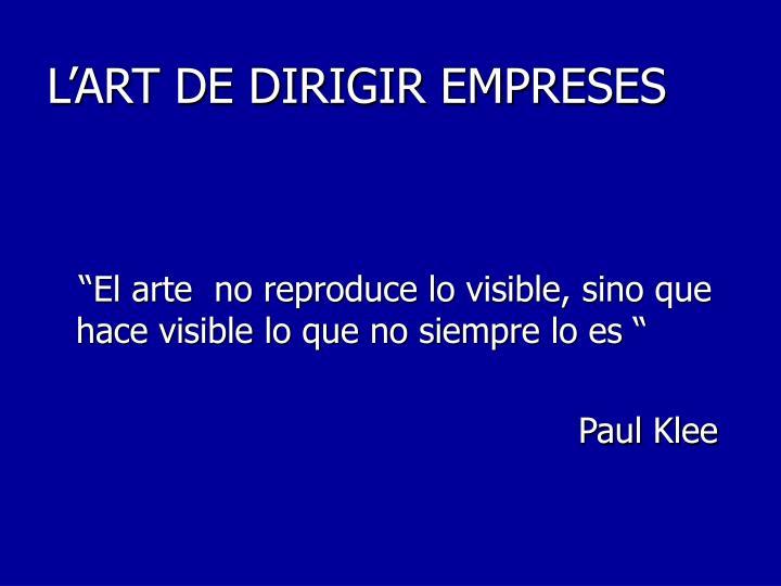 L'ART DE DIRIGIR EMPRESES