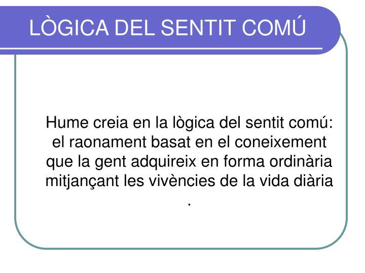 LÒGICA DEL SENTIT COMÚ