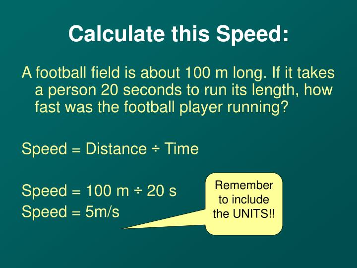 Calculate this Speed: