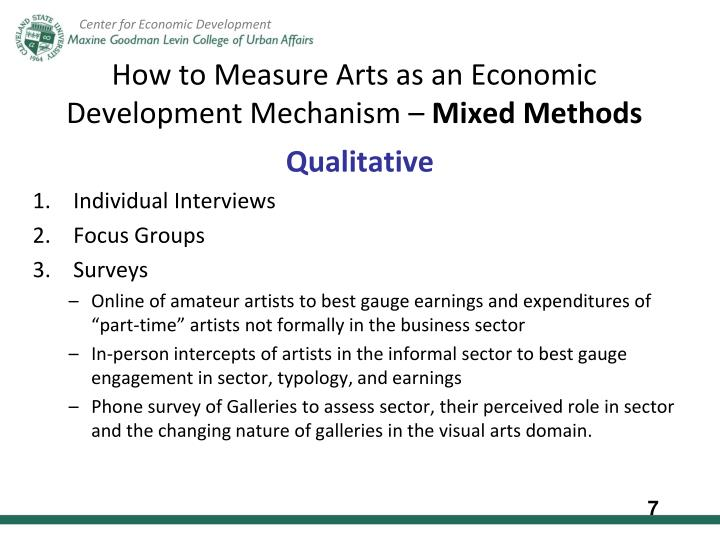 How to Measure Arts as an Economic Development Mechanism