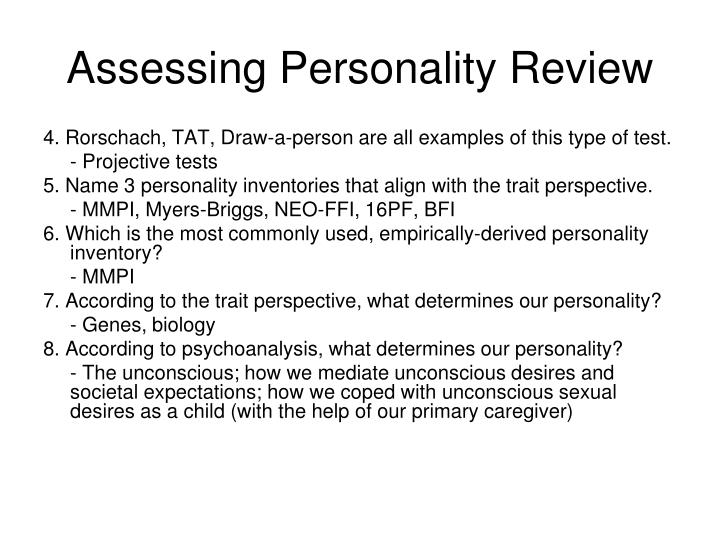 Assessing personality review
