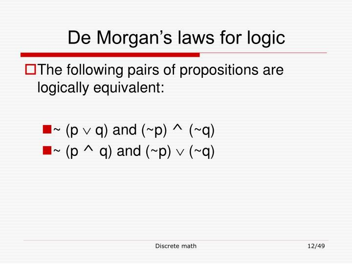 De Morgan's laws for logic