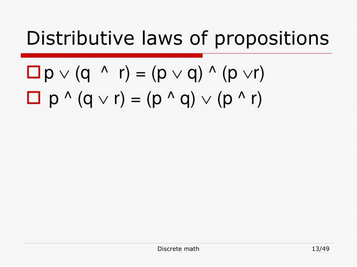 Distributive laws of propositions