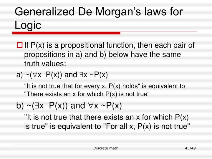 Generalized De Morgan's laws for Logic