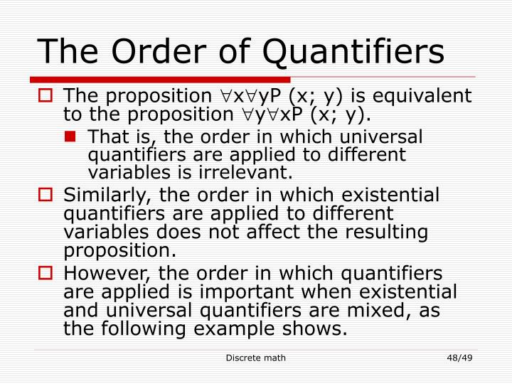 The Order of Quantifiers